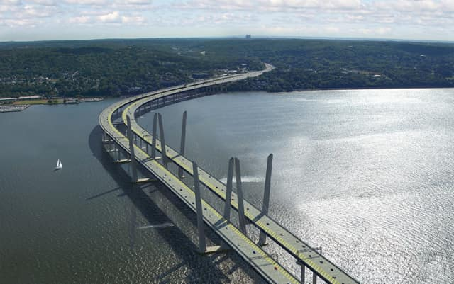 A rendering of the new Tappan Zee Bridge, which is about halfway complete.