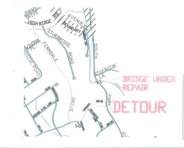 The detour for the bridge repairs.