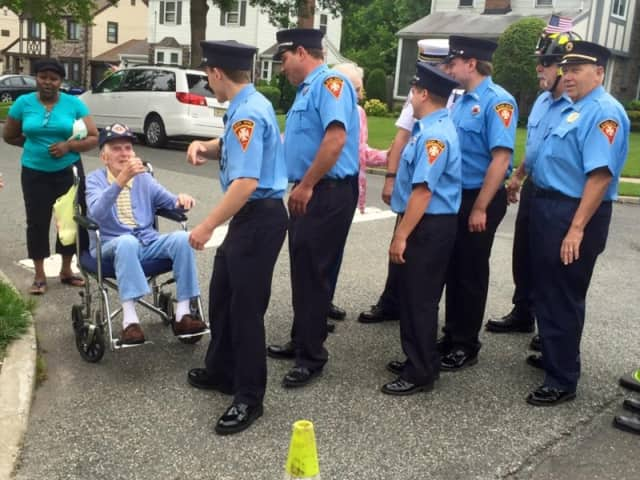 Frank Dinneen with members of the REFD at 2015 Fourth of July parade.