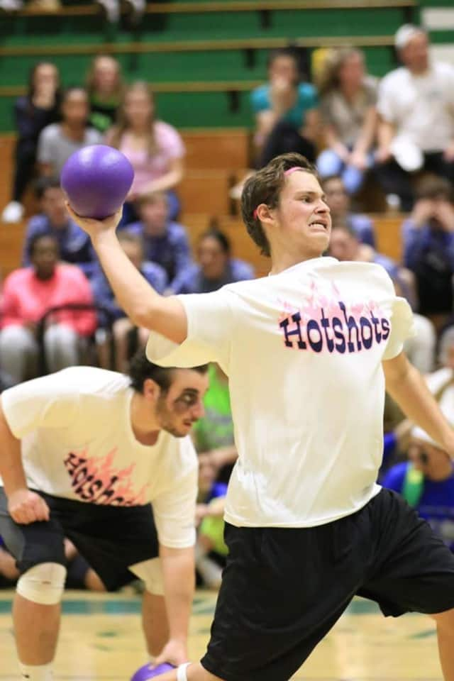 A Norwalk student gets ready to fire at a Dodgeball fundraiser event last year at Norwalk High School.