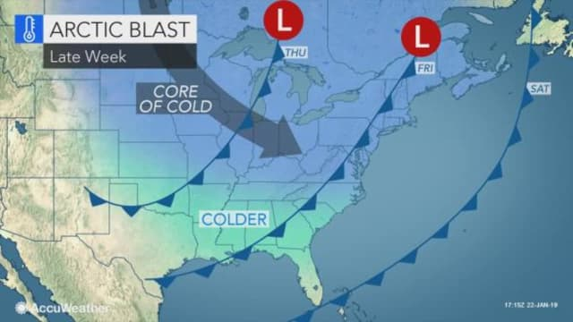 Another Arctic blast could be ahead for parts of the East Coast.