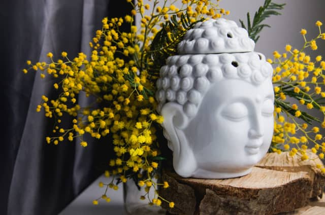 Mimosa yellow spring flowers surround a Buddha, a scene designed to encourage reflection.