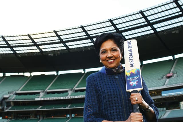 Indra Nooyi, International Cricket Club board director, promotes the ICC women's T20 World Cup.