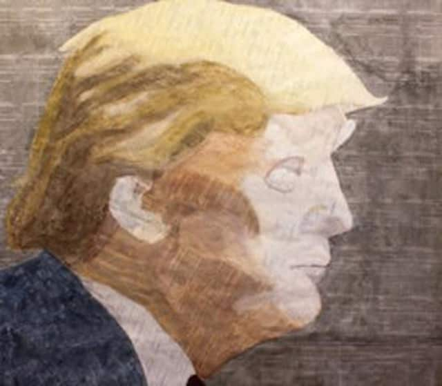 """A portrait of presidential candidate and Bedford estate owner Donald Trump is one of the pieces on display at """"Paper Space,"""" the Lionheart Gallery's current exhibition."""