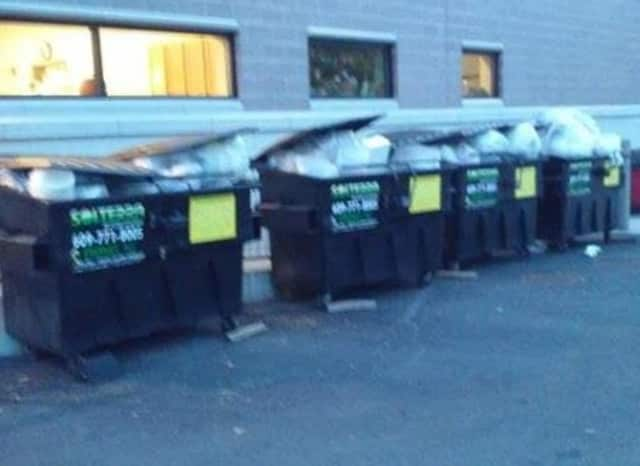 The dumpsters were overflowing Sunday.