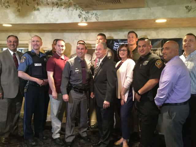 Rockland Sheriff Louis Falco, Rockland County Executive Ed Day, STOP-DWI Coordinator Leslie Berger with award winners.