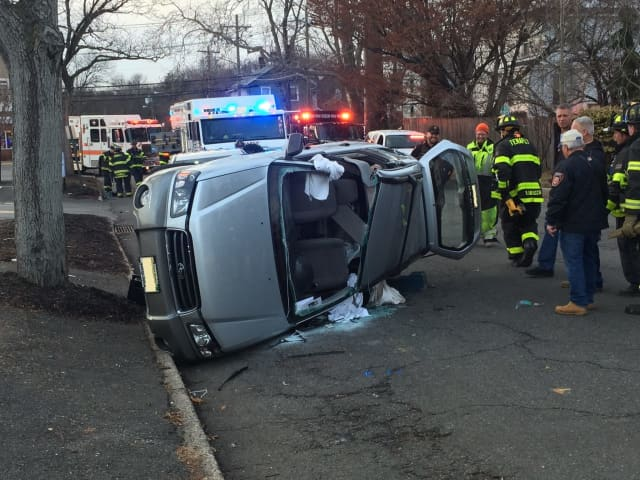 Tenafly firefighters freed the trapped driver.