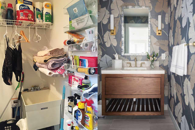 Voila, from ugly laundry to beautiful powder room. Photo courtesy Cami Weinstein.