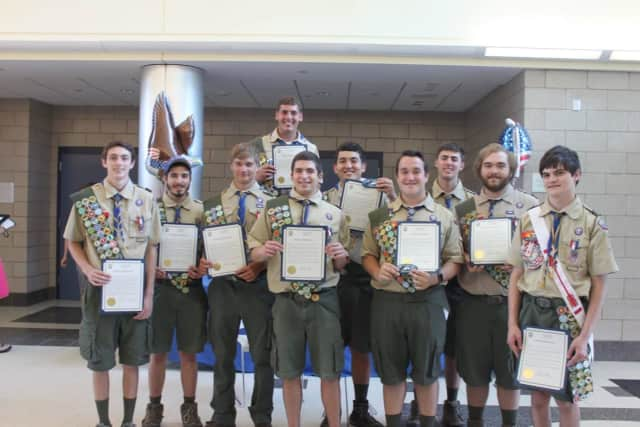 Ten Boy Scouts from New Fairfield Troop have attained the rank of Eagle during an eight-month period, breaking a record for Troop 37.