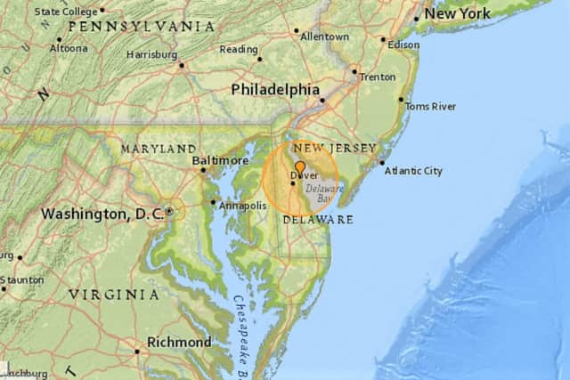 The quake officially was recorded at 4:47 p.m. 10 kilometers east/northeast of Dover.