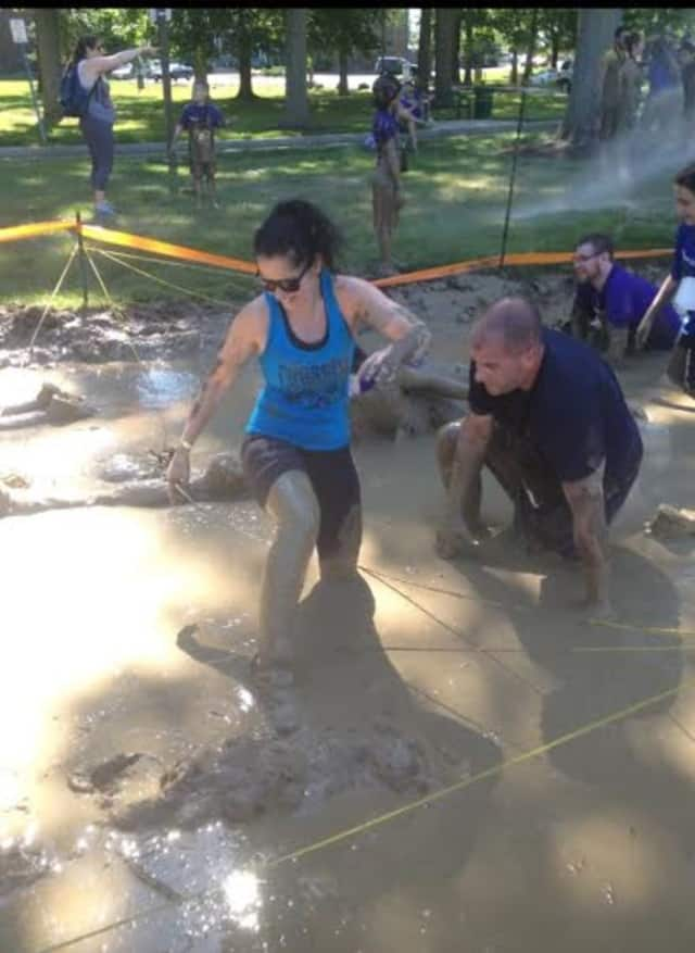 Team members Gary Rushneck and his wife Marybeth during the Westchester Medical Center Trauma Mud Run in Valhalla.
