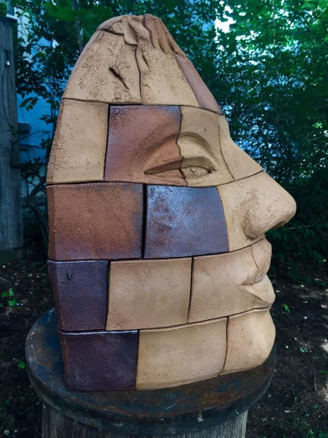This colossal head by sculptor James Tyler is on exhibit in Nyack.