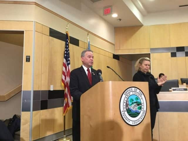 Rockland County Executive Ed Day delivers his state of the county speech in New City Tuesday, Feb. 16. He pointed to his administration's accomplishments and said he saw a bright future ahead for the county.