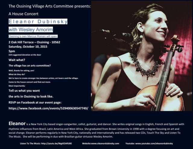 Eleanor Dubinsky and Wesley Amorim will perform a house concert presented by the Ossining VIllage Arts Committee on Oct. 10 with support from Marcus Roman.