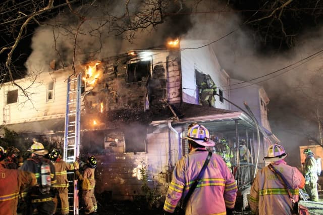 Firefighters battled the Elmwood Park blaze for nearly two hours.