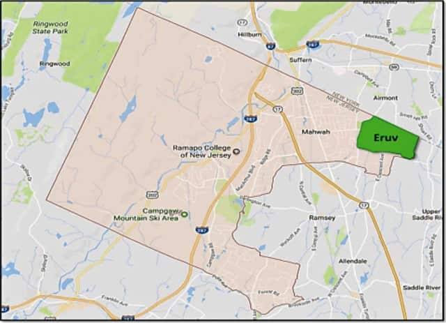 This map was included in the lawsuit filed Friday in U.S. District Court in Newark.