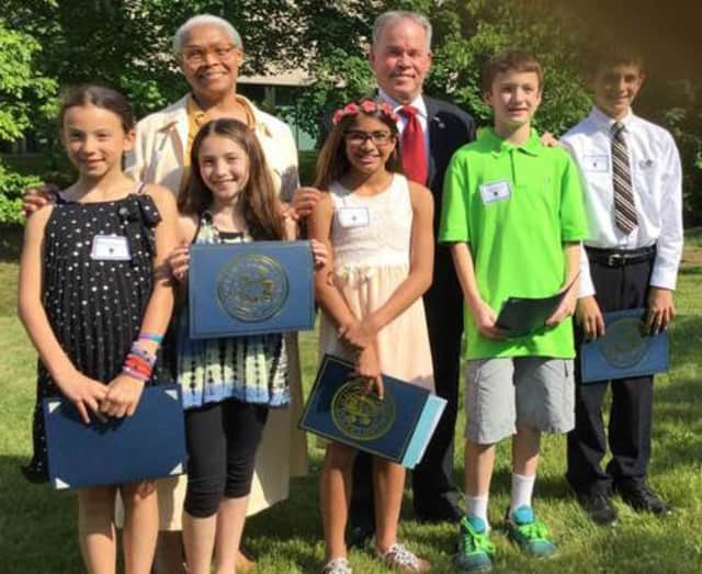 Pictured, front row from left, are Isabella Magnotta, Marly Fisher, Sofia Martino, Jackson Delaney and Michael Peraglia; and back row, Natalie Patasaw and Rockland County Executive Ed Day.