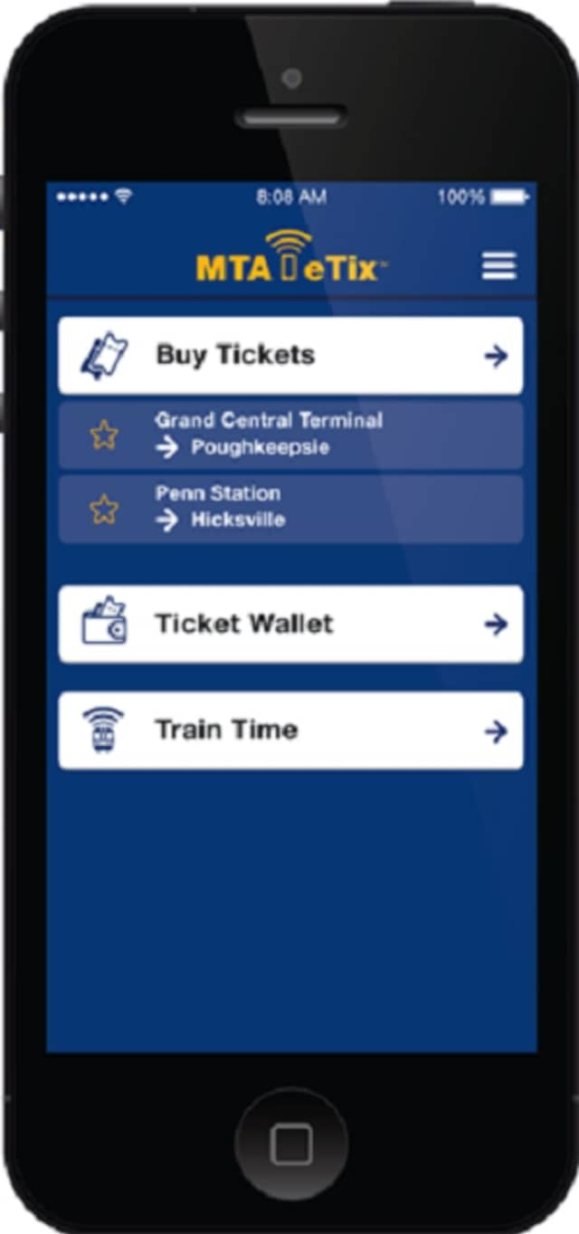 The MTA eTix app allows the purchase of mobile tickets on the Long Island Rail Road and Metro-North lines.