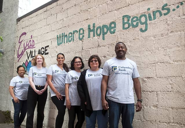 Volunteers from Columbia Banked served meals at Eva's Village in Paterson.