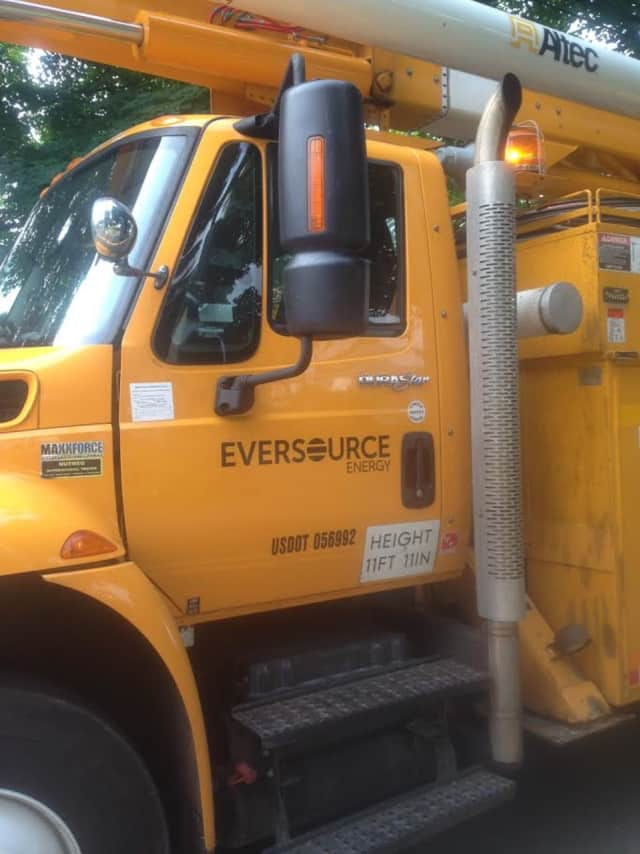 Eversource is on the scene of power outages in Fairfield County on Friday.