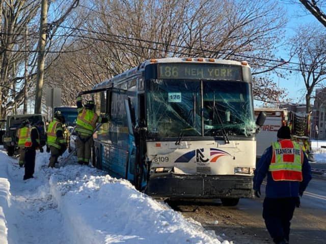 At scene of NJ Transit bus crash on Teaneck Road.