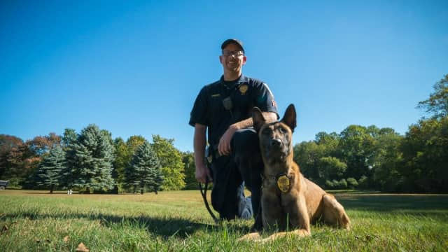 Brookfield Police Department K9 Argo, shown with his handler Sgt. Jeff Osuch, recently received a donation of a new collar with the latest GPS tracking technology.