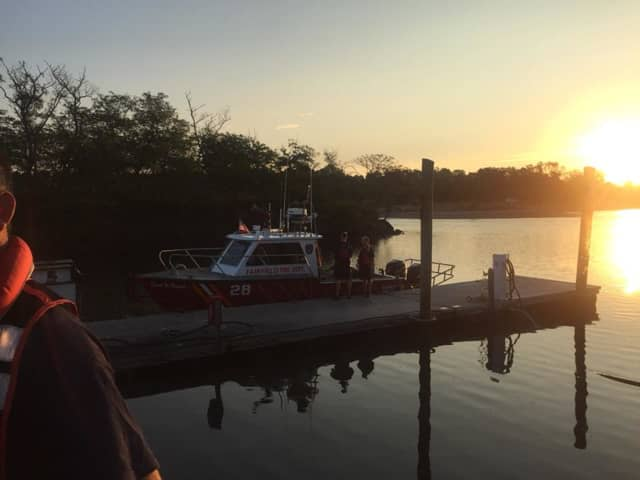 Fairfield Fire Marine units rescued a fisherman stranded at Penfield Lighthouse on Thursday morning