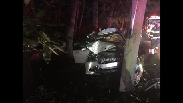 A car crashed into a utility pole on Redding Road in Fairfield on Sunday.