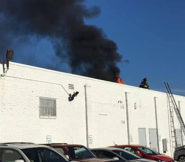 The roof of Maritime Motors in Fairfield caught fire on Saturday morning, but nobody was injured