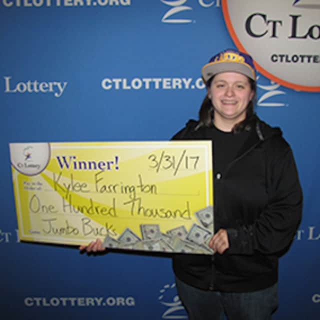 Kylee Farrington of Ansonia of Ansonia wins a big prize in the Jumbo Bucks game with the Connecticut Lottery. She bought her winning ticket in Monroe.