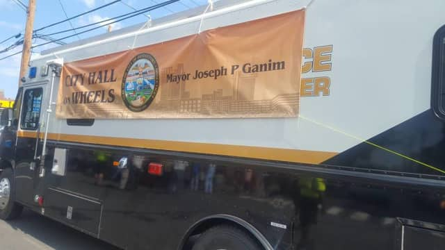 """This """"city hall on wheels"""" is in Bridgeport to Friday."""
