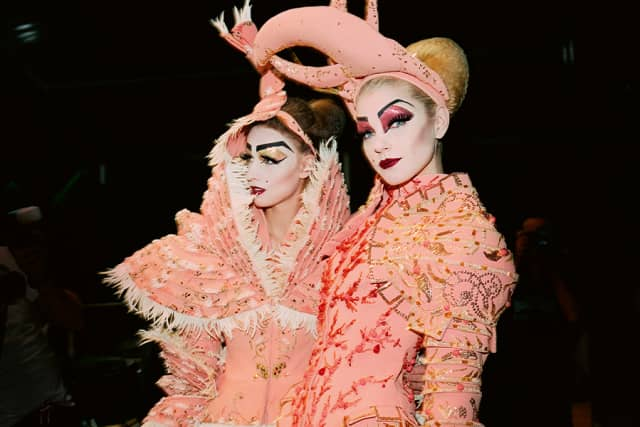 """""""Planet Botticelli,"""" John Galliano's Haute Couture Collection, Autumn/Winter 2006-07, featuring Anne Catherine Lacroix and Jessica Stam. From Robert Fairer's new book """"John Galliano for Dior."""" © Robert Fairer."""