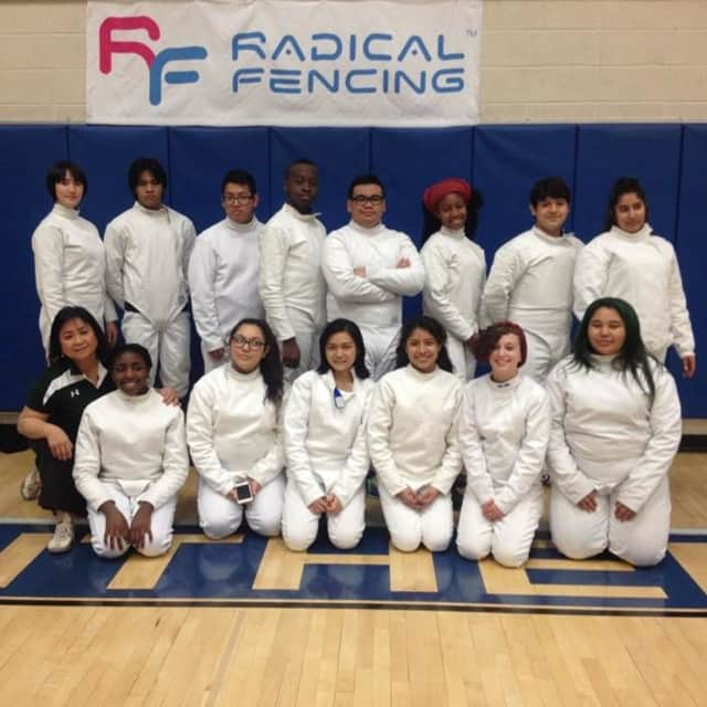 The boys of Woodlands High's fencing team placed fourth in the fencing sectionals. Pictured is the entire team with Coach Tess Biddle.