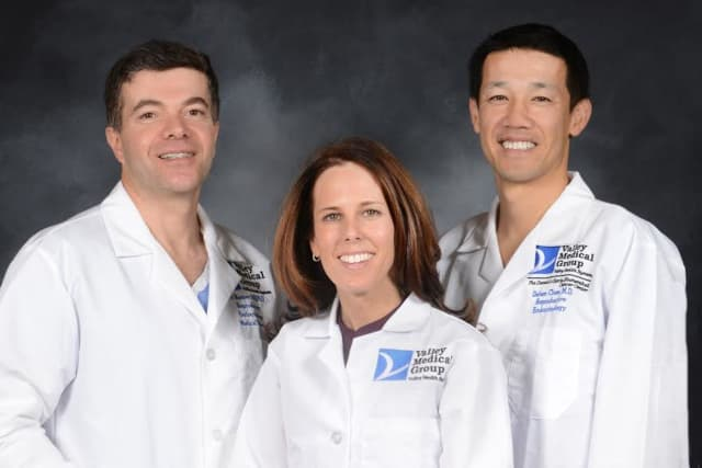 The physicians of The Valley Hospital Fertility Center (from left): Ali Nasseri, M.D., Ph.D., Medical Director; Keri L. Greenseid, M.D.; and Dehan Chen, M.D., Associate Clinical Director.