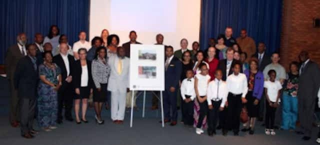 Local schools, elected officials with students at the renaming of the Longfellow campus in Mount Vernon.