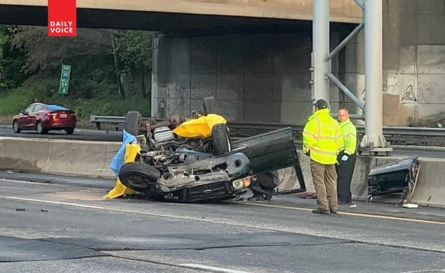 The Ford Explorer Sport crashed on westbound Route 80 in Paterson.