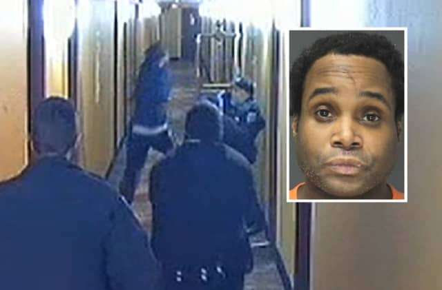 Antwan Whitlock, Clifton police clash in HoJo's hallway.