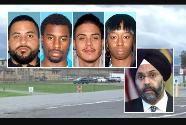 BOX: Jose Irizarry, Courey James, Gustavo Sarmiento Jr., Tara Wallace / INSET: NJ Attorney General Gurbir S. Grewal