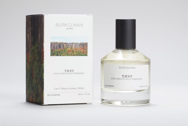 Burkelman has introduced a collection of personal fragrances. Among the six options is That Hudson Valley Fragrance, which features notes of fire, tobacco leaves and moss. Courtesy Burkelman.