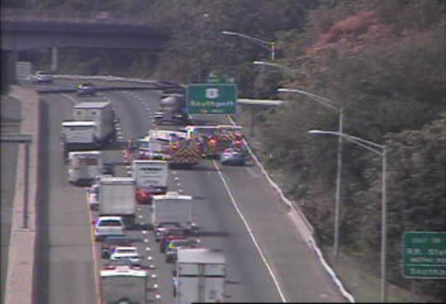 The car fire is on southbound I-95 in Fairfield near Pine Creek Road.