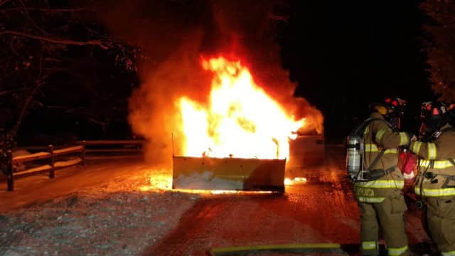 The Weston Volunteer Fire Department responds to a pickup truck fire on Monday evening.