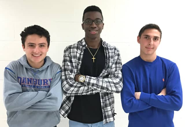 "Danbury High seniors (left to right) Bradley Fox, Tumani Edwards and Chris Leone will host ""Fun and Fitness"" nights at two elementary schools to promote active and healthy lifestyles to young children."