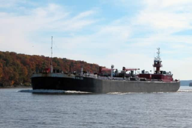 A fuel barge traverses the waters of the Hudson River. Cortlandt is fighting plans to build barge anchorages off Verplanck and Montrose.