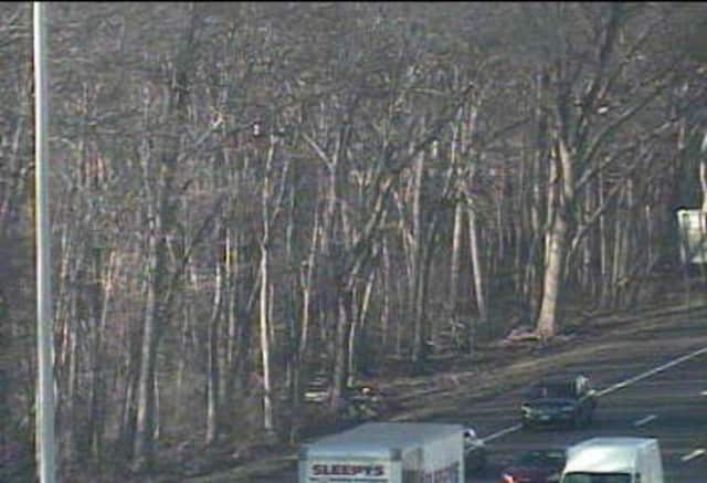 A car went off southbound I-95 in Stamford near the rest area.