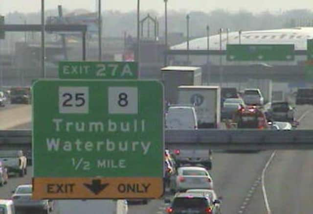 Traffic is jammed on northbound I-95 in Bridgeport on Friday morning.