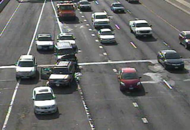 A three-car crash is blocking a lane of I-95 North near Myrtle Avenue on Wednesday afternoon.