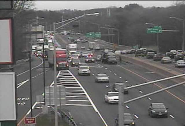A crash is blocking two lanes of I-95 north at Exit 22 near the Fairfield Service Plaza on Saturday afternoon.