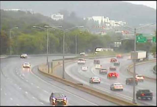 I-84 in Danbury is rain-soaked on Friday morning.