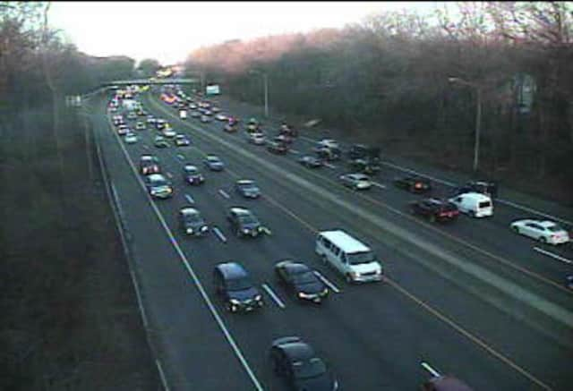 Traffic is jammed in both directions on I-95 at Riverside Lane in Greenwich during the Friday rush hour.