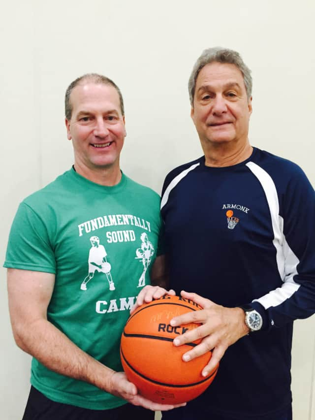 Coach Marty Durkin (left) and Coach Marshall Reiff lead Fundamentally Sound Basketball Camp in Armonk.